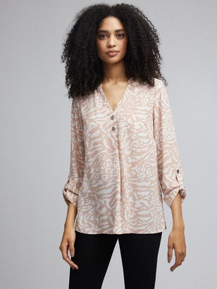 Dorothy Perkins Roll Sleeve Button Detail Top- Nude