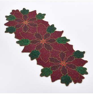 Saro Lifestyle Poinsettia Design Beaded Poinsettia Runner