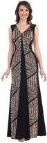 Cindy Black & Gold V Neck Cap Sleeve Long Dress For Prom 2017
