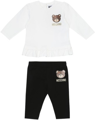 MOSCHINO BAMBINO Baby stretch-cotton top and leggings set