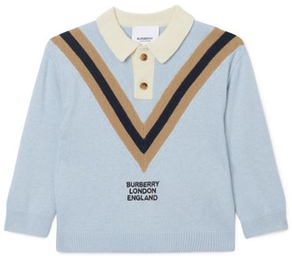 Burberry Kids Cashmere-Cotton Knitted Polo Shirt