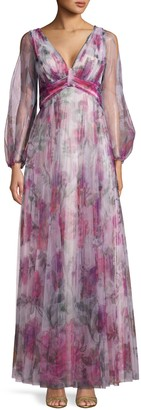 Marchesa Floral-Print V-Neck Gown