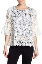Pleione Gingham Lace Overlay Blouse
