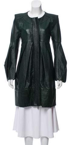 Rue Du Mail Structured Pleated Leather Jacket w/ Tags