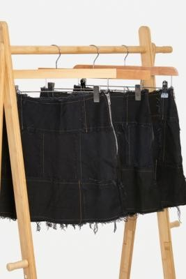 Urban Renewal Vintage Remade From Vintage Black Denim Patchwork Skirt - Black L at Urban Outfitters