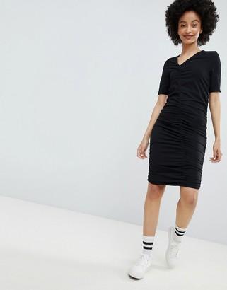 Monki Ruched Dress-Black