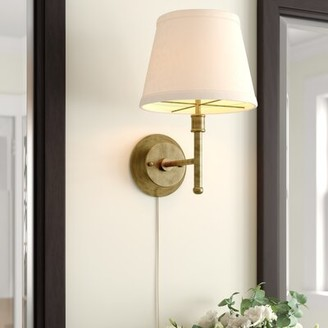 """Three Posts Summitville 13"""" Pin-up 1 - Light Dimmable Plug-In Armed Sconce Finish: Antique Brass"""