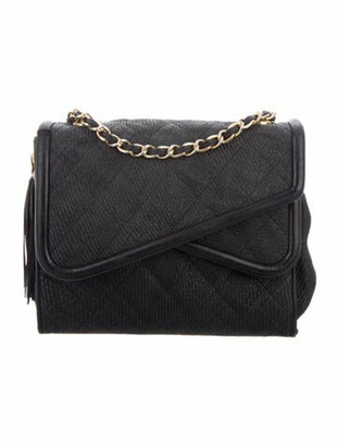 Chanel Vintage Quilted Straw Flap Bag Black