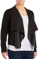 Junarose Faux Leather-Accented Flyaway Cardigan