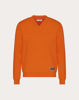 Valentino V-neck Viscose Sweater With Vltn Tag Man Black Viscose 83%, Polyester 17% L
