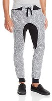 Southpole Men's Jogger Pants In All Over Printed Fleece Fabric with Drop Crotch