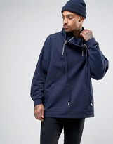Asos Oversized Sweatshirt With Funnel Zip Neck In Navy
