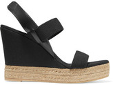 Tory Burch Canvas And Leather Wedge Sandals