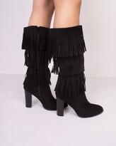 Missy Empire Aleni Black Suede Tassel Calf Boot