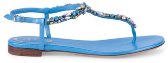 Rene Caovilla Diana Crystal-Embellished Satin & Leather T-Strap Sandals