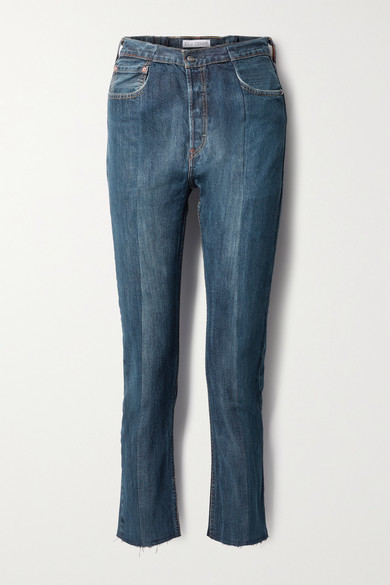 E.L.V. Denim + Net Sustain The Twin Frayed Two-tone High-rise Straight-leg Jeans - Dark denim