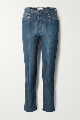 E.L.V. Denim + Net Sustain The Twin Frayed Two-tone High-rise Straight-leg Jeans - Dark denim