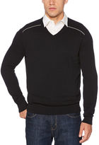 Perry Ellis V-Neck Solid Stripe Sweater