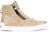 Diesel metallic hi-tops - women - Cotton/Polyester/rubber - 37
