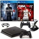 "Sony PlayStation 4 PS4 Slim 500GB Console with ""Uncharted 4,"" ""NBA 2K17,"" Dual-Dock Charger and Controller Sleeve"