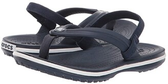 Crocs Crocband Strap Flip (Toddler/Little Kid) (Navy) Kids Shoes