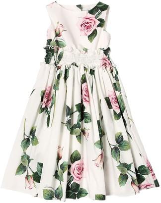 Dolce & Gabbana Rose Print Cotton Poplin Dress