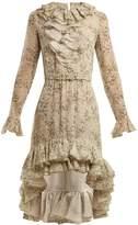 Giambattista Valli Floral-print ruffle silk dress