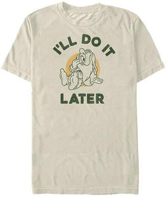 Fifth Sun Sleepy I'Ll Do It Later Mens Crew Neck Short Sleeve Seven Dwarfs Graphic T-Shirt