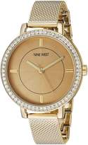 Nine West Women's NW/1832CNGB Swarovski Crystal Accented -Tone Mesh Bracelet Watch