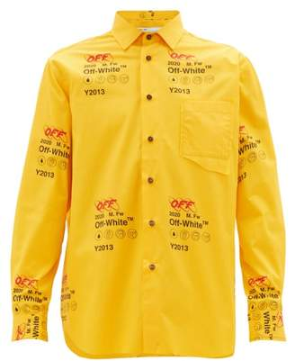 Off-White Off White Industrial Logo-print Cotton Shirt - Mens - Yellow