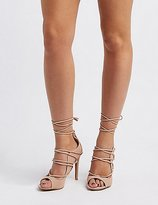 Charlotte Russe Peep Toe Lace-Up Heels