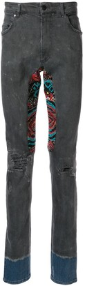 Alchemist embroidered patchwork skinny jeans