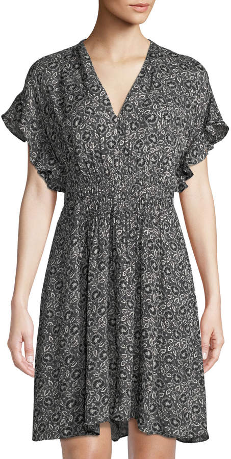 Rebecca Taylor Sweet-Briar Ruffle-Sleeve A-line Dress