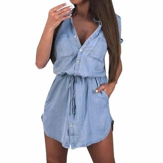 Auied Women's Short Sleeve Shirt Dress Summer Casual Buttons Waist Bandage Shorts Denim Dress Boyfriend Mini Dress Sky Blue