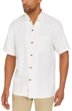 Tommy Bahama Men's Down The Hatch Classic-Fit Tropical-Jacquard Embroidered Silk Camp Shirt