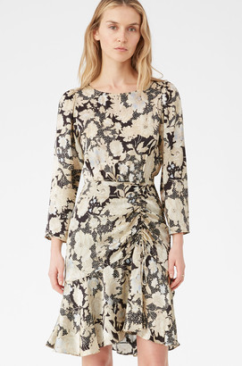 Rebecca Taylor Gold Leaf Fleur Silk Ruched Dress