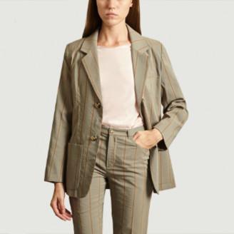 Green Cotton Laquintane - Gray Suit Jacket - cotton   gray green   36