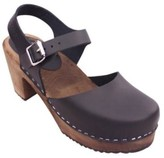 Lotta Clogs Lotta clogs - Lottas Clogs High Wood Black Leather In Dark Brown Base - 38