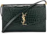 Saint Laurent Embossed Croc Monogramme Chain Wallet Bag in Dark Mint   FWRD