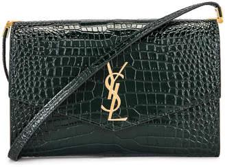 Saint Laurent Embossed Croc Monogramme Chain Wallet Bag in Dark Mint | FWRD