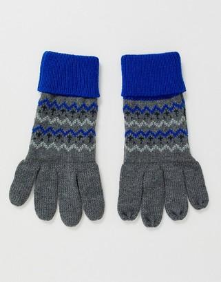 Boardmans fairisle gloves in blue
