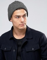 Asos Cable Fisherman Beanie In Grey