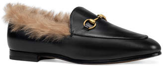Gucci 10mm Jordaan Leather And Fur Loafer