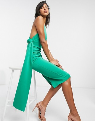 ASOS DESIGN racer-front tie-back pencil midi dress in green
