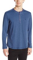 Original Penguin Men's Long Sleeve Henley with Colorblock Shoulder Piecing