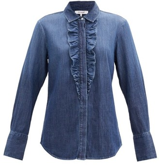 Frame Ruffled Denim Shirt - Denim