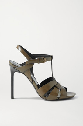 Saint Laurent Tribute Leather Sandals - Army green