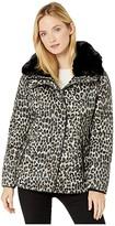 MICHAEL Michael Kors Print Jacket with Faux Fur Collar M424303TZ (Dark Camel Leopard) Women's Coat