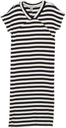 Cotton Emporium V-Neck Short Dolman Sleeve Stripe Print Maxi Dress