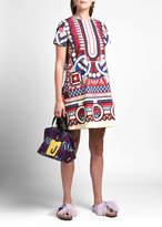 Double J Geometric Short-Sleeve Mini Swing Dress